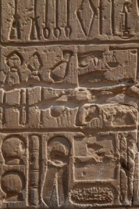 hieroglyphics on famous eygpt temple of como ombo showing the medical instruments
