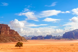 Scenic Jordanian desert in Wadi Rum, Jordan viewed from the Lawrence's Spring