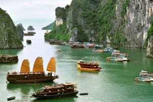 Tourist Junks and Floating village in Halong Bay